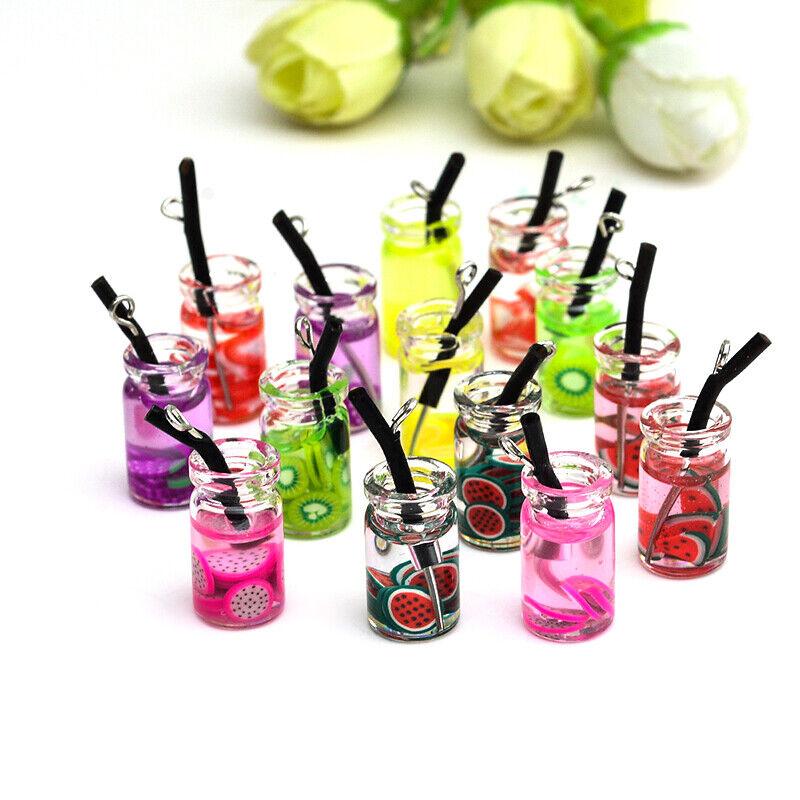 5Pcs/Set Fruit Bottle Resin Charms Pendant Craft DIY Finding