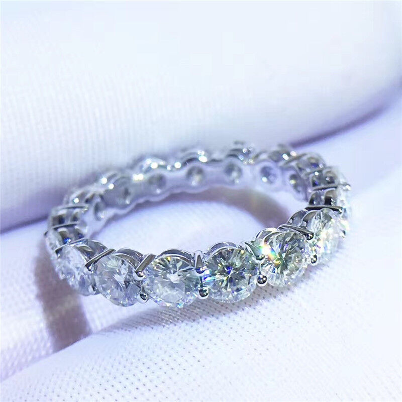 Eternity ring White Gold Filled 4mm AAAAA cz Wedding Band Ri