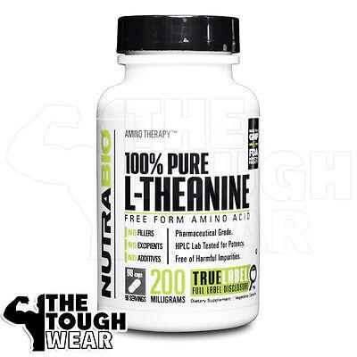 NUTRABIO L-THEANINE 200mg 90caps - 100% Pure Free Form Amino (Amino Acid 90 Caps)