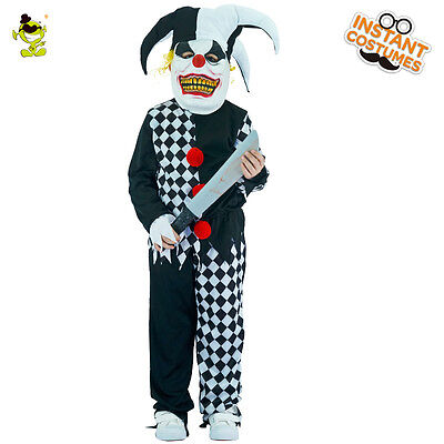 Child Evil Jester Costume Halloween Party Sinister Clown Cosplay Suit for Boys   - Evil Clown Costumes For Kids