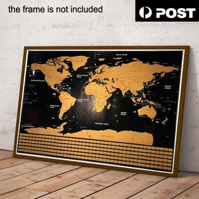 New Scratch Off World Map Poster Interactive Personalized Travel Atlas Decor Big