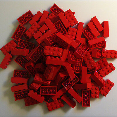 100 NEW LEGO 2x4 Bright Red (Red) Bricks (ID 3001) BULK Blocks