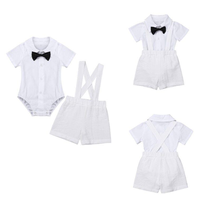 9c3e38f9da853 Baby Boys Baptism Christening Outfit White Romper Linen Suspender ...
