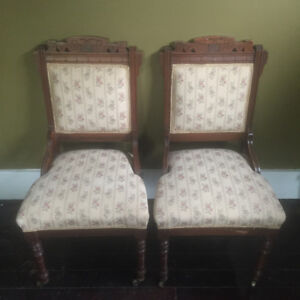Antique / Vintage Victorian Eastlake Chairs (2, Matching Pair)