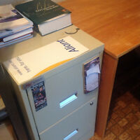 Desk with Keyboard extension, 3 Drawer File Cabinet, & office ch