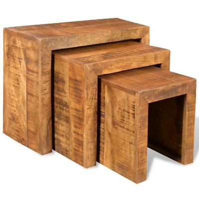 Rustic 3-Piece Nesting Table Side Table Solid Mango Wood Living Room Furniture (3 Piece Living Room Side Table)