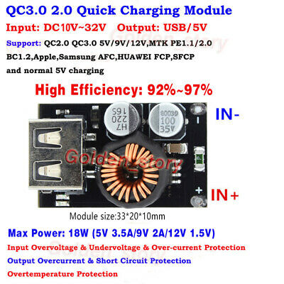 Qc3.0 2.0 Usb Quick Charging Board 12v 24v Step Downto 5v 3a Fast Charger Module