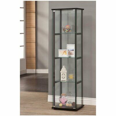 Glass Curio Cabinet Tower Door Display Shelves Showcase Porcelain Floor Standing ()