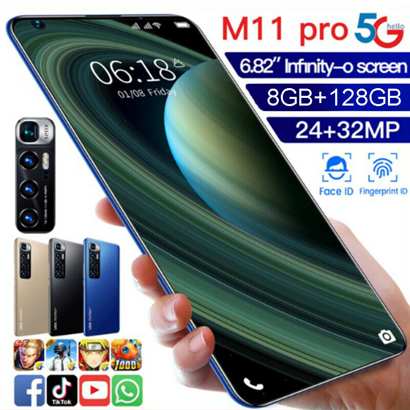 Android Phone - 6.82'' M11 PRO Smart Phone Android 10.0 8GB+128GB 10 Core Dual SIM Unlocked  HOT