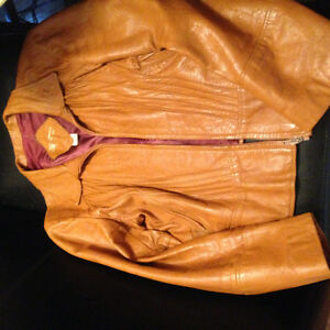 VINTAGE Brown Genuine Leather short jacket