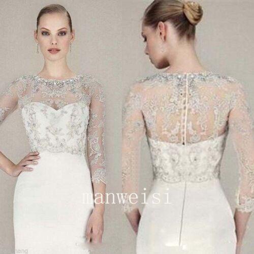 Sparkles Crystal Appliques Beaded Wedding Jacket Bridal Boleros Wraps 3/4 Sleeve