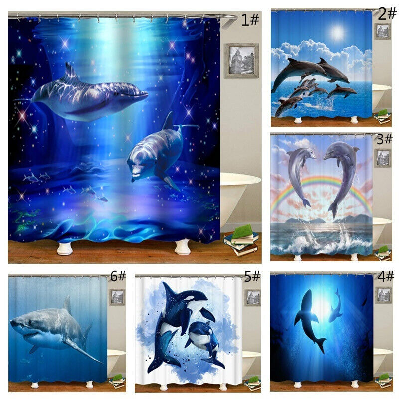 Bathroom Decor Shower Curtain Printed Waterproof Bath Toilet Curtain Dolphins Bath