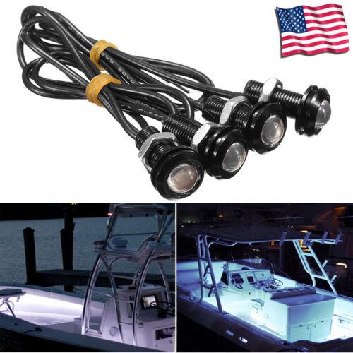 4x White  LED Boat Light Waterproof 12v Outrigger Spreader Transom Marine Dock