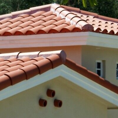 S type Clay  Roof Tile Roofing Spanish Mediterranean Rustic Look Terracotta RED ()