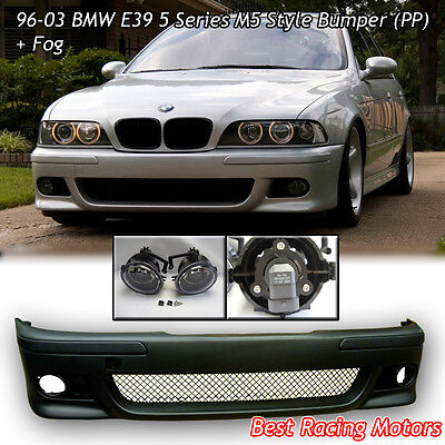 M Style Front Bumper Cover (PP) + Glass Fog Lights Fit 96-03 BMW E39 5-Series
