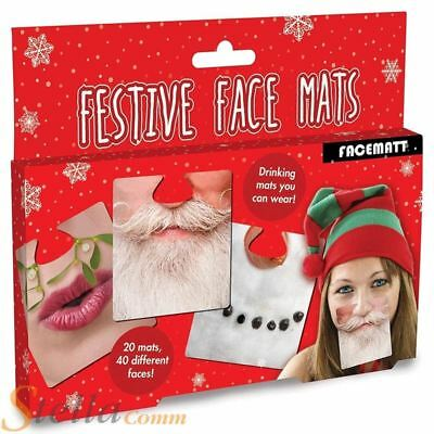 20 Double Sided Festive Face Mats Novelty Christmas Clip On Beer Drinks Mat
