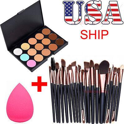 15 Colors Contour Face Cream Makeup Concealer Palette Professional + 20 BRUSH