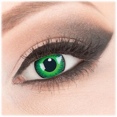 Crazy Fun Kontaktlinsen Grün mit Stärke Sehstärke Shining für Halloween Fasching