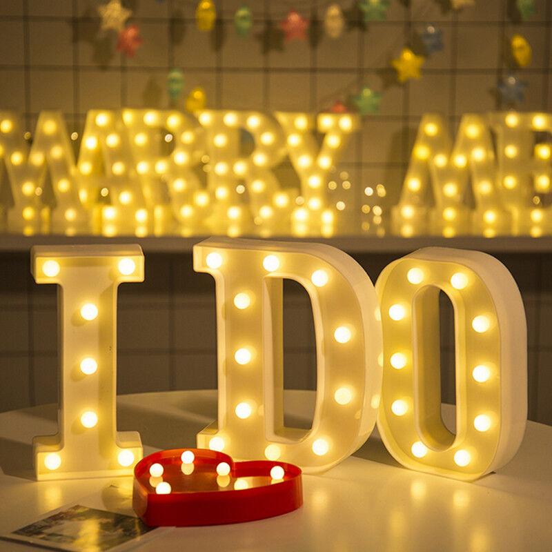 3D Beleuchtete LED Leuchtbuchstaben Alphabet Nachtlicht Party Hochzeit Deko Mode