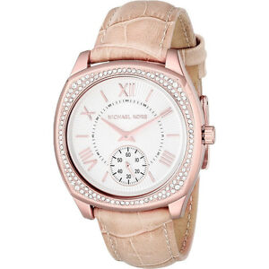 Michael Kors Bryn White Dial Nude Leather Ladies Dress Watch
