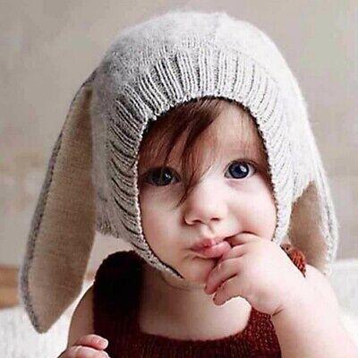 US Baby Winter Warm Rabbit Bunny Ear Hat Toddler Kids Crochet Knit Ear Flap Cap  Crochet Baby Ear Flap Hat