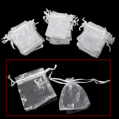 Wholesale Beautiful 50Pcs White Butterfly Organza Jewelry Gift Candy Pouch Bag
