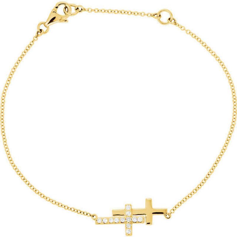 Diamond Double Sideways Cross 8 Bracelet In 14k Yellow Gold 16 Ct