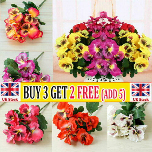 Home Decoration - 10 Head Artificial Silk Pansy Flower Floral Bunch Plant Home Party Outdoor Decor