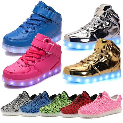 Xmas Boy Girl LED Light Up Luminous High Top Shoes Kids Children Trainer Sneaker