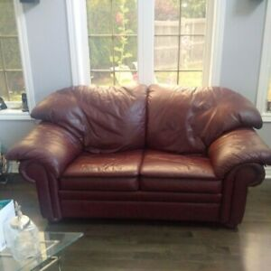 2 Rawhide Leather Couch and Loveseat