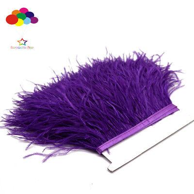 Dark Purple 1/5/10 Meter Ostrich Feather Cloth Trims 3.15-6Inch/8-15 Cm - Purple Feather