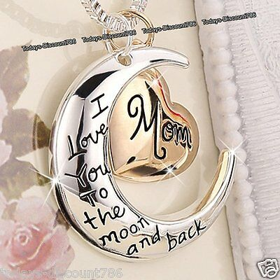 BLACK FRIDAY DEALS Rose Gold Heart & Moon Mom Necklaces Xmas Gift For Her Mother](black friday gift deals)