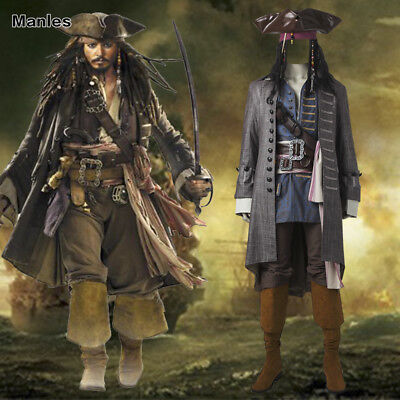 Pirates of the Caribbean 5 Captain Jack Sparrow Costume Wig Cosplay Halloween   (Captain Jack Sparrow Costume)
