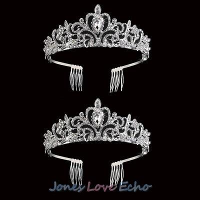 Princess Tiaras Bulk (2x Princess Crown Tiara Rhinestone Wedding Bridal Crystal Veil Accessories)