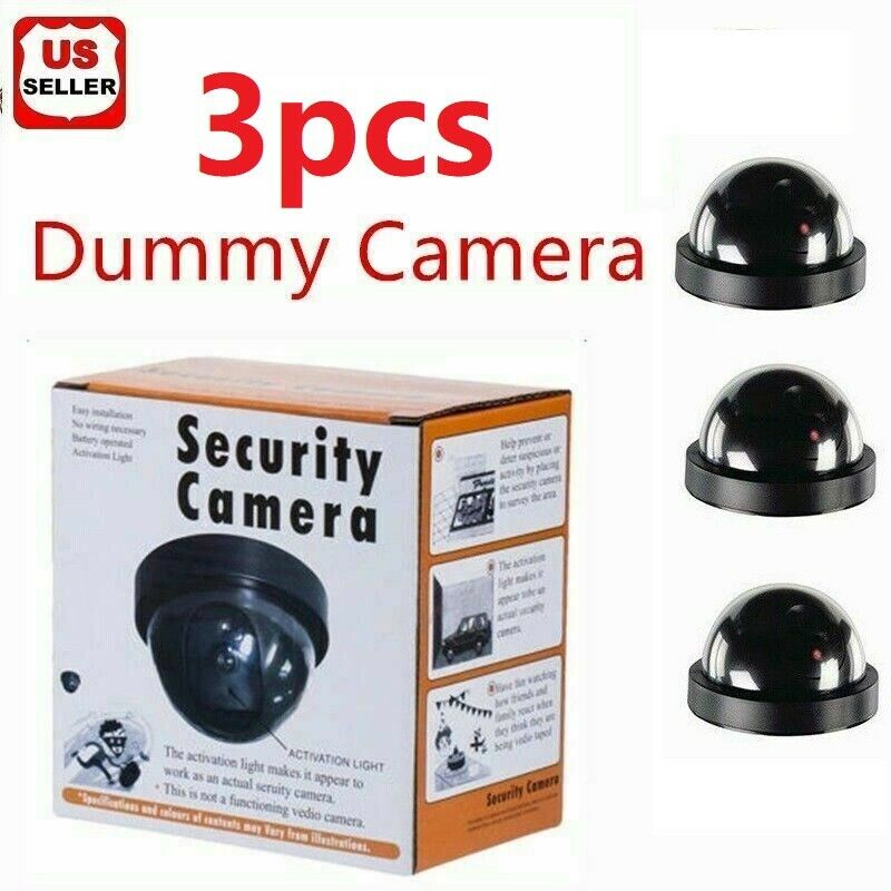 3 Fake Dummy Dome Surveillance Security Camera with LED Sensor Light