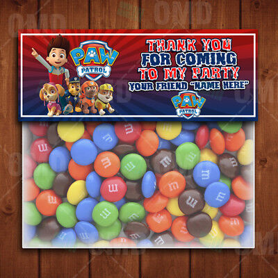 Paw Patrol Party Favors Cartoon Party Bag Toppers - Bag Toppers