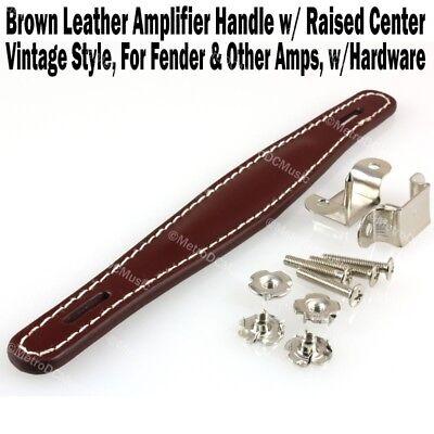 Brown Vint Leather Amplifier Handle w/ Raised Center for Fender & Other Amp NEW - Fender Amplifier Handles