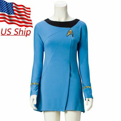 Classic Star Trek Female Duty TOS Blue Uniform Dress Cosplay Costume Suit Adult