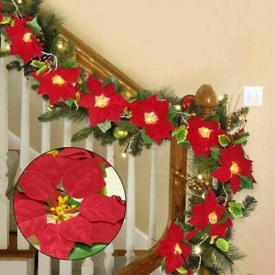 LED Christmas Poinsettia Fairy String lights Red Flower Garland Xmas Decoration