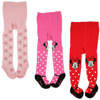 Disney Minnie Mouse Polka Dot Tights, 3 Piece Variety Pack, Baby Girls, 0-24M 3 Pack Baby Tights