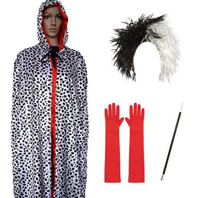 DALMATIAN HOODED CAPE WIG GLOVES CIGARETTE FANCY DRESS HALLOWEEN COSTUME MOVIE](Dalmatian Costume Halloween)
