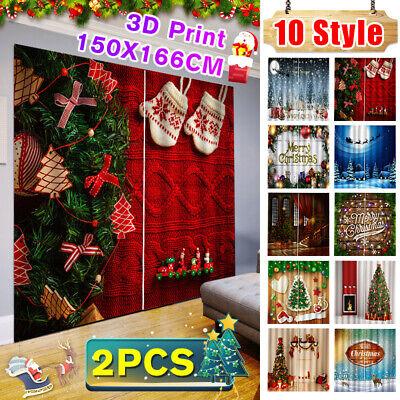 Fashion 2Pc 3D Print Window Curtain Drapery Door Screen For Christmas Home Decor Home Window Fashions Draperies
