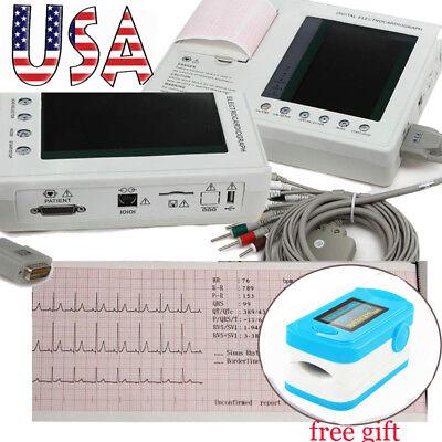 Usa Lcd Digital 12-lead 3-channel Electrocardiograph Ecg Ekg Machine Oximeter