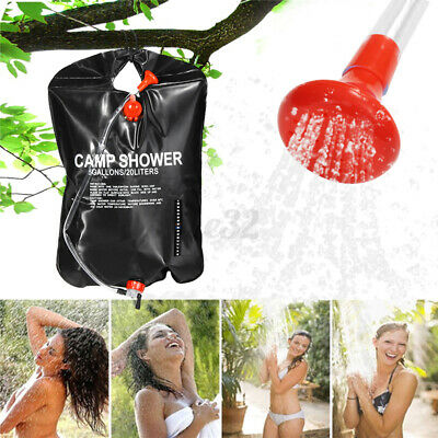 20L Portable Solar Shower Bag Heating Pipe W/Hose Shower Head Camping Outdoor US