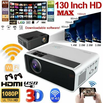 4K 1080P HD WiFi 3D LED Mini Video Theatre Projector Android Home Cinema 2800LM