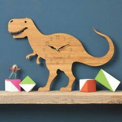 3D Dinosaur Sticker Clock Wooden Silent Wall Clock Watch Kids Bedroom Decoration