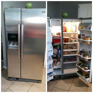 stainless steel fridge with ice & water