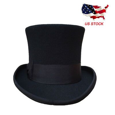 Vintage Wool Black Victorian Mad Hatter Top Hat Vivi Performing Cap  5