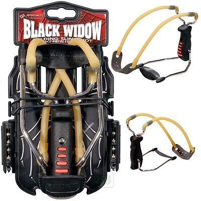 Barnett BLACK WIDOW Tactical Catapult Folding Slingshot + Ammo RESORTERA Sling