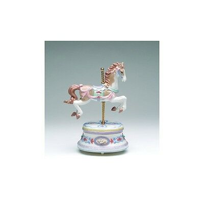 """COLLECTIBLE PORCELAIN CAROUSEL HORSE """"PANCHELBEL CANON IN D"""" MUSIC BOX"""